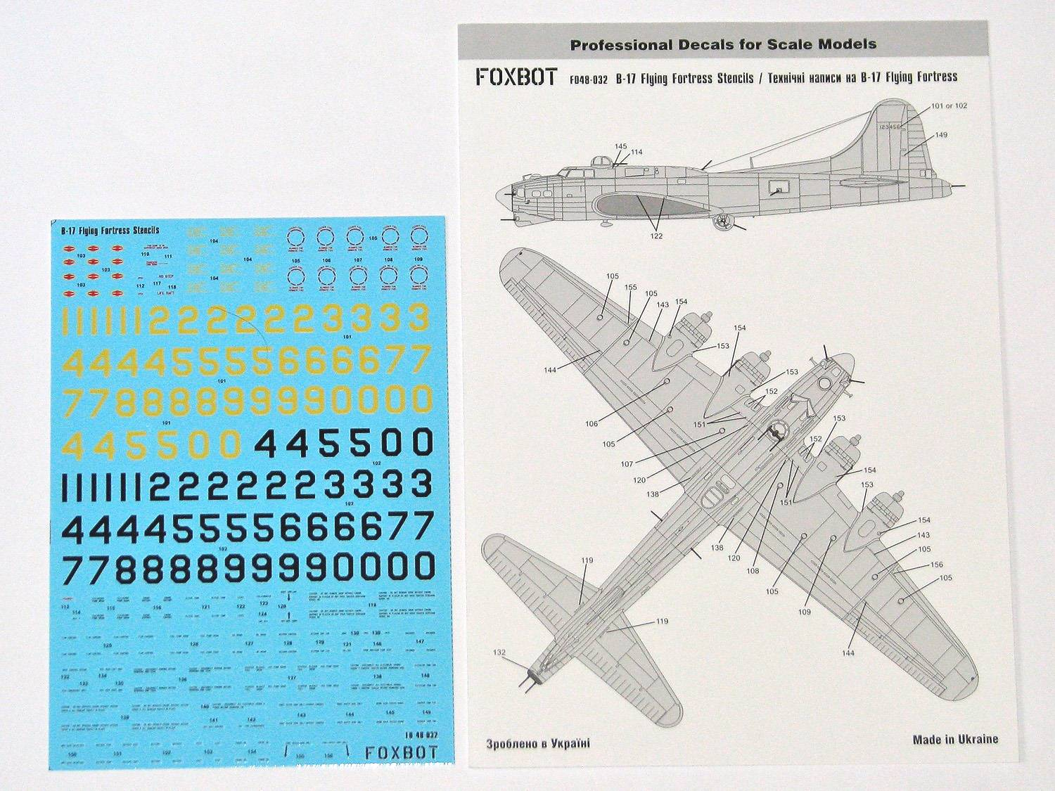 Foxbot Decals FD48-032 B-17 Flying Fortress Stencils