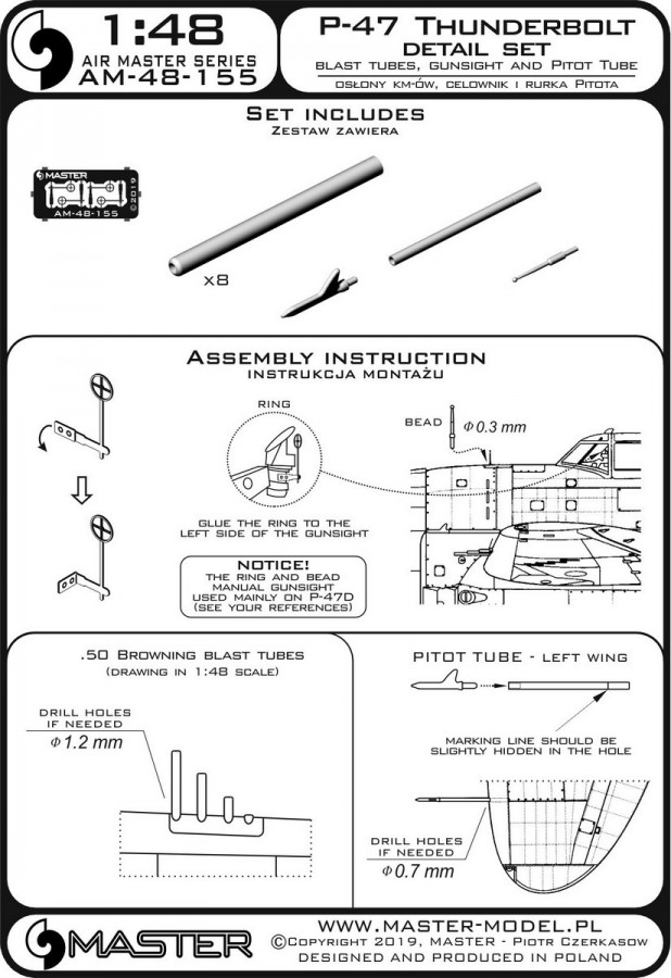 Master AM-48-155 - P-47 Thunderbolt - details set - Browning .50 blast tubes, gunsight and Pitot Tube