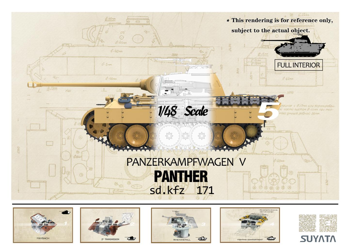 Suyata 4801 Sd.Kfz.171 Panther full interior